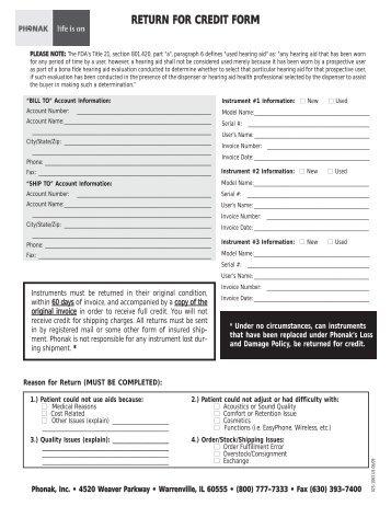 Phonak Cros Ii Order Form