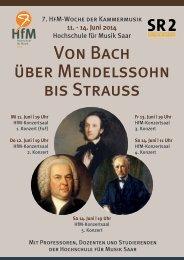 7. HfM-Woche der Kammermusik: Von Bach über Mendelssohn bis Strauss - Programm