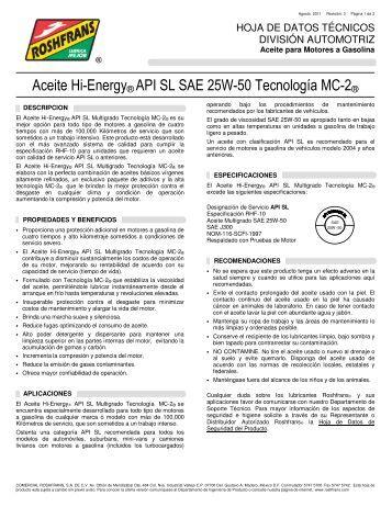 Aceite Hi-Energy® API SL SAE 25W-50 Tecnología MC-2 - Roshfrans