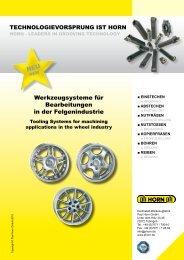NEU Werkzeugsysteme für Bearbeitungen in der ... - Horn USA