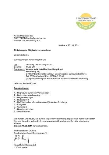 Die Einladung zur Mitgliederversammlung