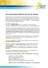 Die verschwundenen Mädchen des Prof. Dr. Breitbart