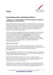 Presse Erste Solarien-Kette vollständig zertifiziert