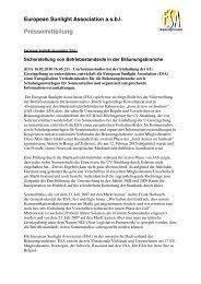 European Sunlight Association asbl Pressemitteilung