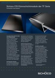 Schüco CIS-Dünnschichtmodule der TF Serie - Photovoltaik