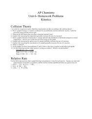AP Chemistry Unit 6- Homework Problems Kinetics Collision Theory ...