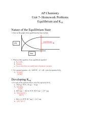 AP Chemistry Unit 7- Homework Problems Equilibrium and Ksp ...