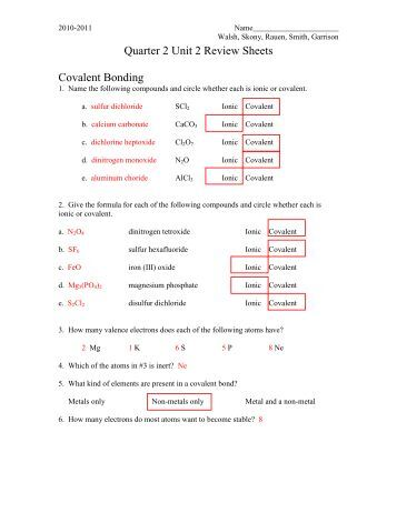 Types of Bonds and Covalent Bonding Worksheet - Colina Middle ...