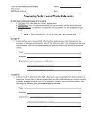 Developing Sophisticated Thesis Statements - Palatine High School