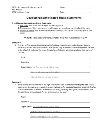 writing a thesis statement worksheet high school Without a thesis statement, you don't have a paper watch this video, and get the inside scoop on how to write a killer thesis statement.