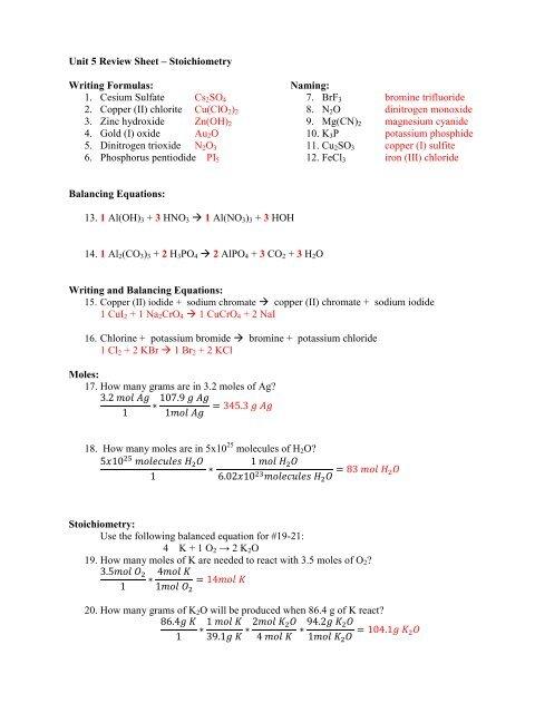 Unit 5 Review Sheet – Stoichiometry Writing Formulas: 1  Cesium