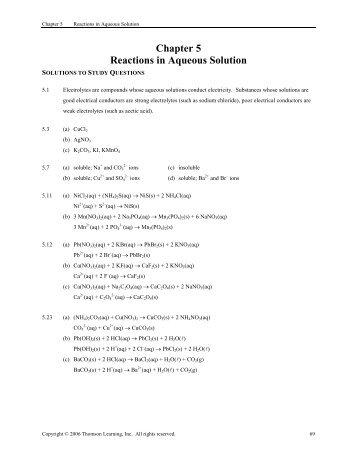 Chapter 4 - Reactions in Aqueous Solution