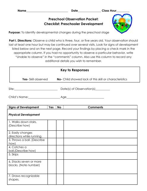 Preschool Observation Packet Checklist Preschooler