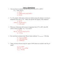 Unit 11 – Thermo Review 1. How much heat is needed to raise the ...