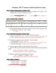 Chemistry 338 2 Semester Final Exam Review Sheet
