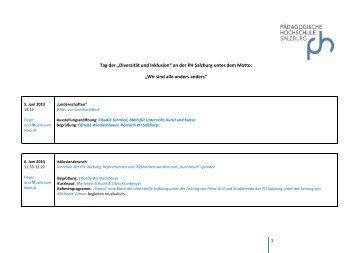 """Tag der """"Diversität und Inklusion"""" an der PH Salzburg unter dem Motto"""