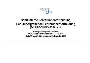 Programm SCHILF GKS I - Pädagogische Hochschule Salzburg