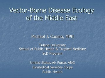 Vector-Borne Disease Ecology of the Middle East - Public Health ...