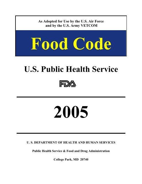 2005 FDA Food Code - USAF Edition - Public Health