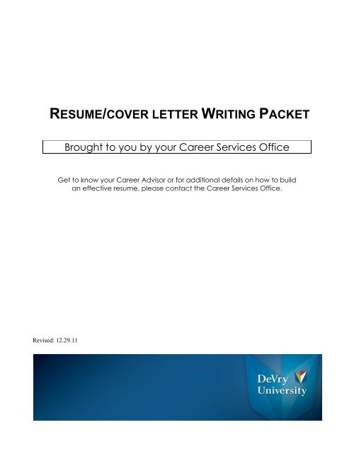 view resume/cover letter writing packet - DeVry University
