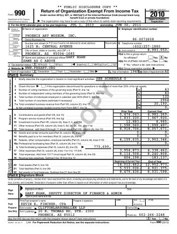FY11 PAM 990 Tax Return - Phoenix Art Museum