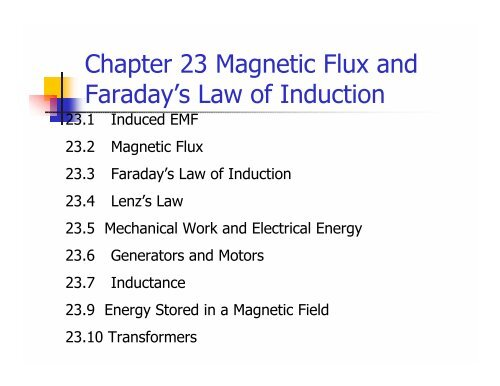 Chapter 23 Magnetic Flux and Faraday's Law of Induction