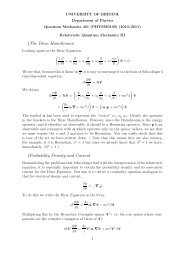 The Dirac Hamiltonian - Physics - University of Bristol
