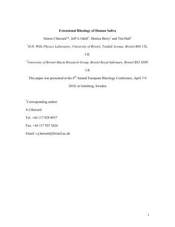 Extensional Rheology of Human Saliva - University of Bristol