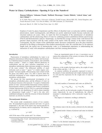 Water in Glassy Carbohydrates: Opening It Up at the ... - Physics
