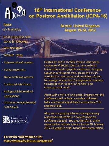 16th International Conference on Positron Annihilation (ICPA-16)