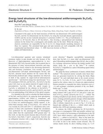 Energy band structures of the low-dimensional antiferromagnets ...