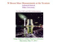 W Boson Mass Measurements at the Tevatron - Duke Physics ...
