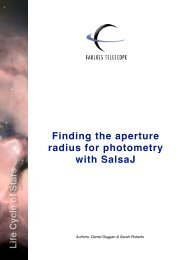 Finding the aperture radius for photometry with SalsaJ - Eu-Hou