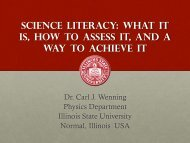SCIENCE LITERACy - Department of Physics - Illinois State University