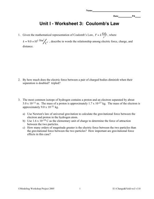 Unit I - Worksheet 3: Coulomb's Law