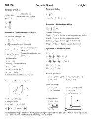 PH2100 Formula Sheet - Physics