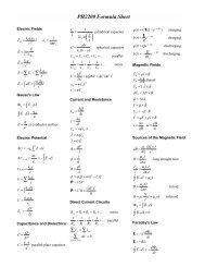 PH2200 Formula Sheet - Physics