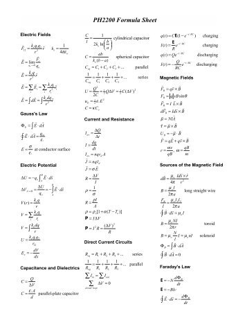 PH2200 Formula Sheet - Physics