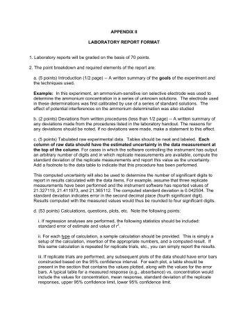 APPENDIX II LABORATORY REPORT FORMAT 1. Laboratory ...