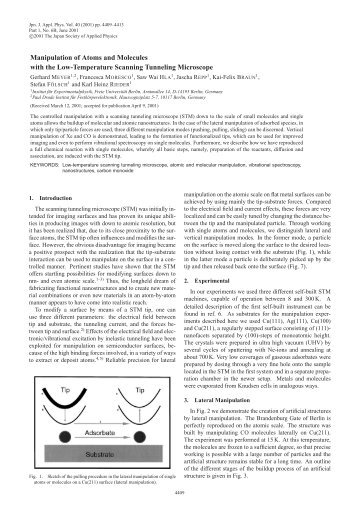 Manipulation of Atoms and Molecules with the Low-Temperature ...