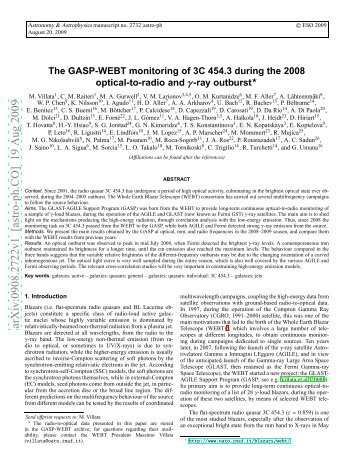 The GASP-WEBT monitoring of 3C 454.3 during the 2008 optical-to ...