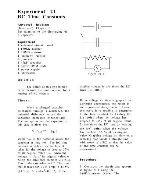 RC time constant Experiment (downloadable PDF file)