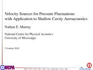 Velocity Sources for Pressure Fluctuations with Application to ...