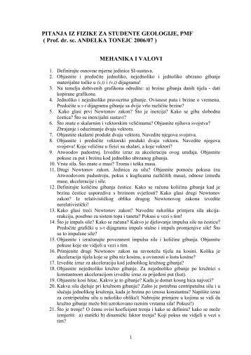 PITANJA IZ FIZIKE ZA STUDENTE GEOLOGIJE, PMF ( Prof. dr ... - phy