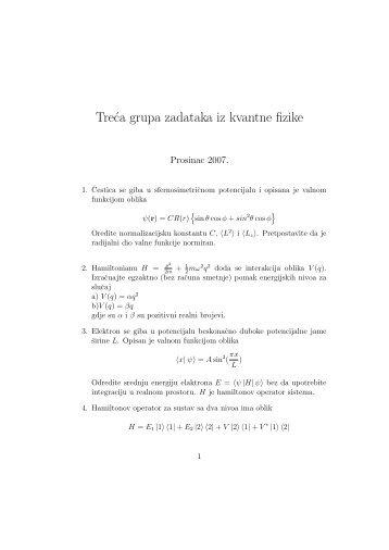 Treca grupa zadataka iz kvantne fizike - phy