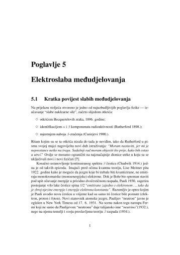 Poglavlje 5 Elektroslaba me ¯dudjelovanja - phy