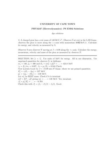 PHY321F solutions (partial) for Problem Set EM02 - University of ...