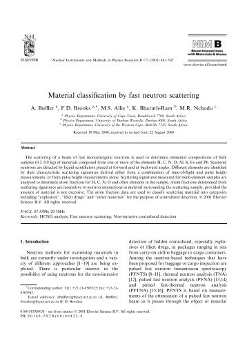 Material classification by Fast Neutron Scattering Analysis