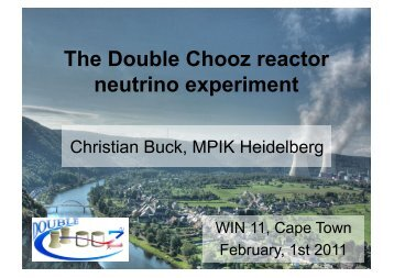 The DOUBLE CHOOZ experiment - University of Cape Town