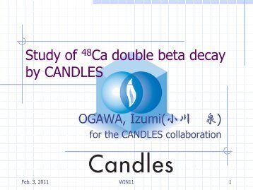 Study of 48Ca double beta decay by CANDLES